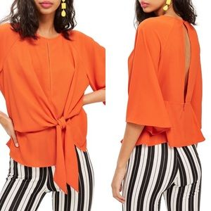 NWT Topshop Slouchy Front Knot Blouse Open Back